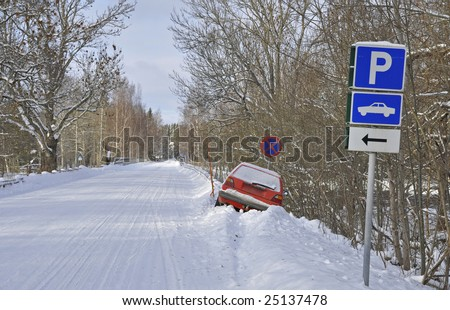 Car in the ditch not parking space