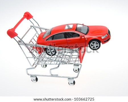 Car inside a shopping cart.