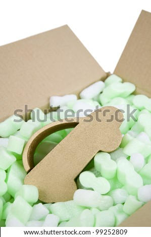 car insurance, car protected inside box of foam packaging protection