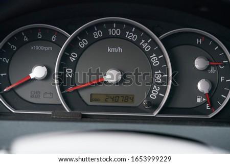 car interior dashboard details. Speedometr.