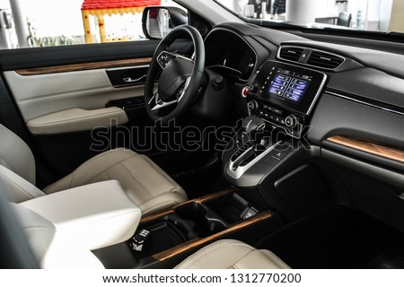 car interior in details.new car from the salon. dashboard auto. large touch screen