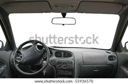 car interior isolated for creative landscape montage - stock photo