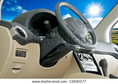 Car interior / landscape view