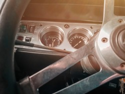 Car interior. Old ford mustang
