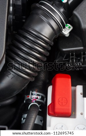 Car interior with plastic pipe closeup
