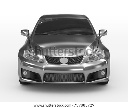 car isolated on white - metal, tinted glass - front view - 3d rendering