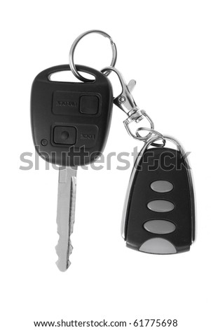 Car key and remote control isolated on white.