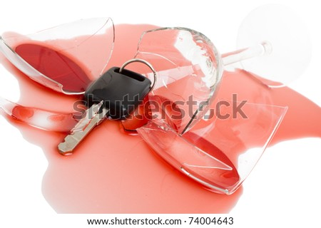 Car key in red wine - concept for don't drink and drive