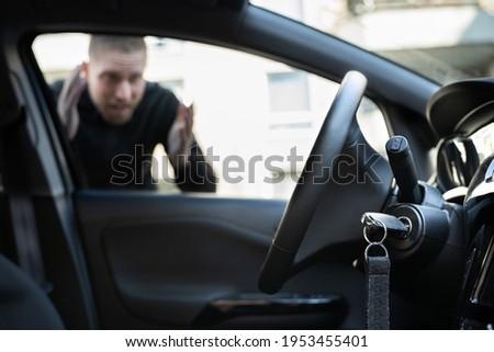 Car Key Lockout. Forgot Inside His Vehicle Сток-фото ©