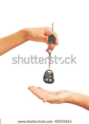 Car key on a white background