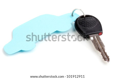 Car key with charm isolated on white
