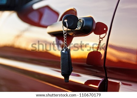 Car keys at sunrise