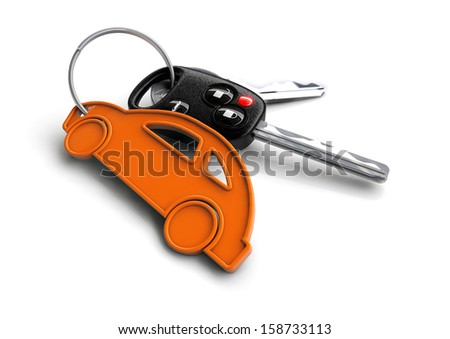 Car keys attached to a orange key ring shaped like a car.