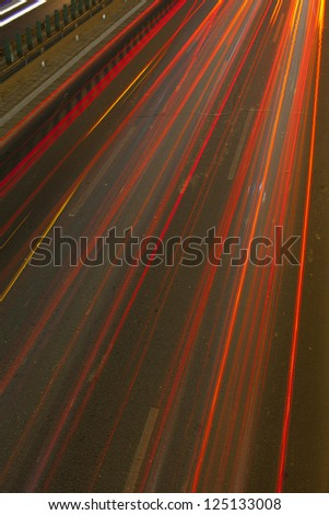 car lamp track on the night highway