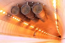 Car Light Trail of Westbound Traffic inside Caldecott Tunnel. Berkeley Hills, California, USA.