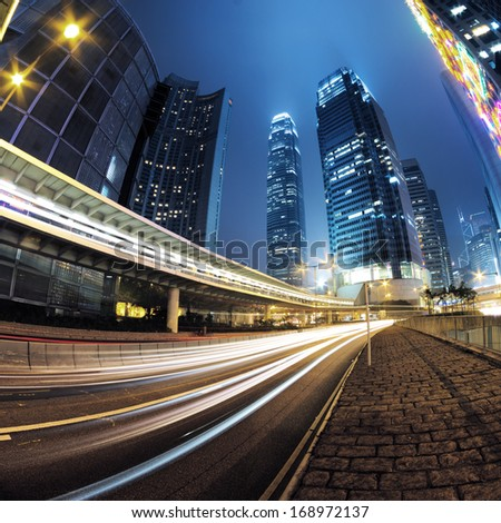 Car light trails and urban landscape in Hong Kong #168972137