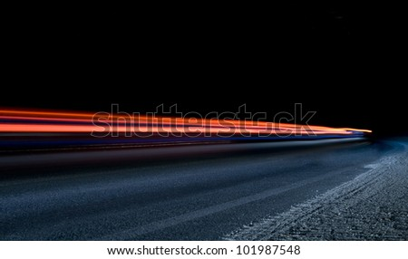 Car light trails in the tunnel. Art image . Long exposure photo taken in a tunnel below Veliko Tarnovo