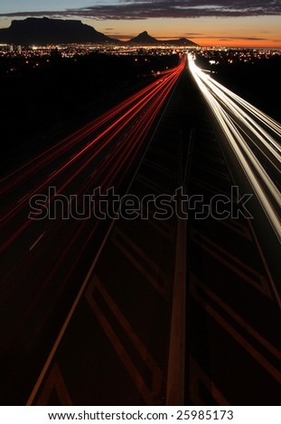 Car light trails on a highway in Cape Town South Africa