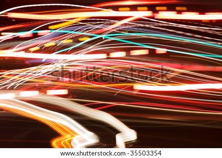 car lights at night abstract