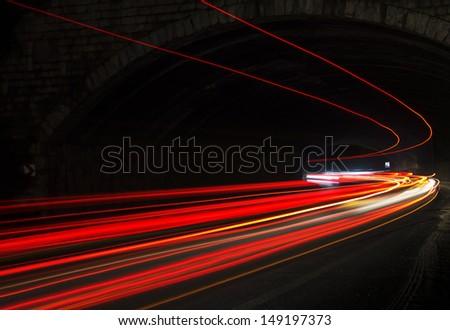 car lights at night. art image.
