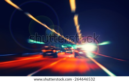 car lights on highway by night,abstract light speed trace,abstract speed background