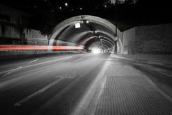 car lights trail in a tunnel in Malaga, Spain