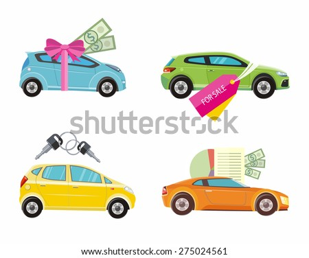 Car loan approved document with dollars money. Buying car concept. Gift car and red ribbon with dollars money. Car sale. Rent a car concept in flat design. Raster version
