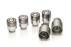 car lock nuts, wheel nut that protect the wheels from theft. close-up of the isolate on a white background