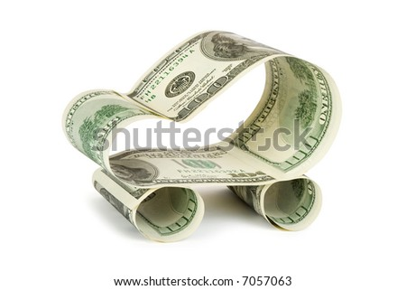 Car made of dollars, isolated on white background