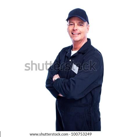 Car mechanic. Isolated on white background. - stock photo