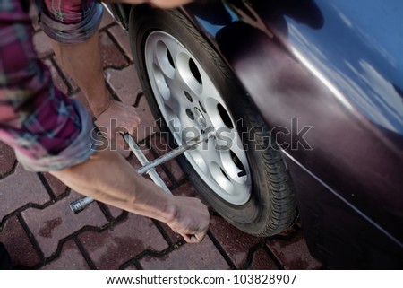 Car mechanic repair wheel with wrench