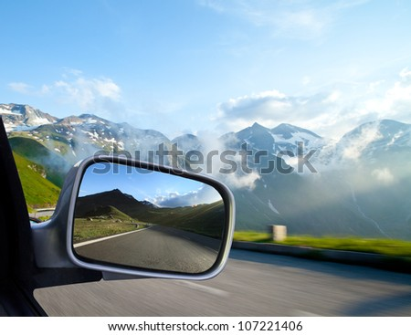 Car mirror, concept of speed