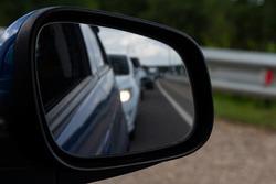 Car, mirror reflection, traffics, speed, road trip