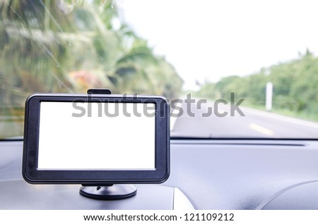 Car navigator with clipping path - stock photo