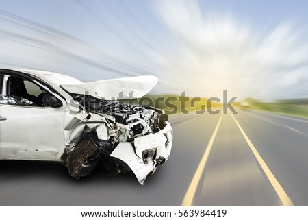 Car of accident make front windshield cracked and airbag explosion damaged at claim the insurance company. Double exposure car accident and road on cityscape.  Image blur focus  style. #563984419