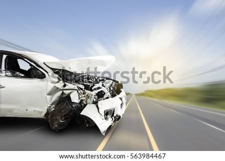 Car of accident make front windshield cracked and airbag explosion damaged at claim the insurance company. Double exposure car accident and road on cityscape.  Image blur focus  style. #563984467