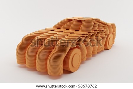 Car of coins - stock photo