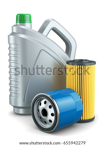 Car oil filters and motor oil plastic can isolated on white background 3d