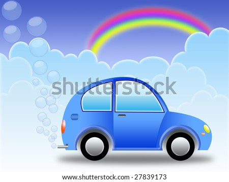 car on hydrogen clouds with rainbow. by the discharge of water bubbles