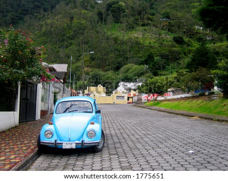 Car on Street in Banos, Ecuador