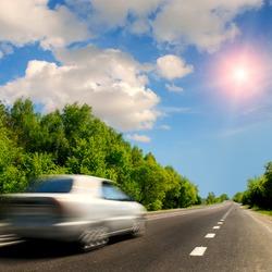 car on the asphalt road
