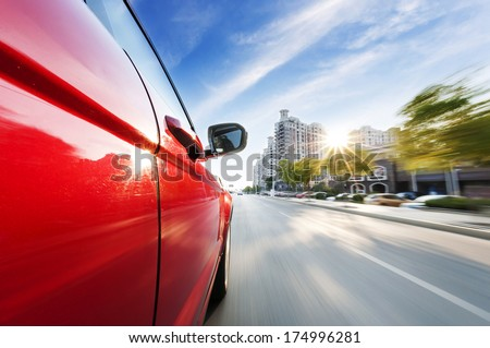 car on the road with motion blur background. #174996281