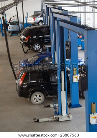 car on the service maintenance assistance in specialized professional workshop