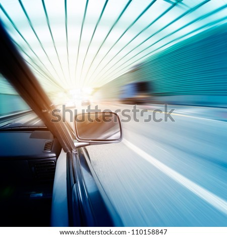 car on the tunnel wiht motion blur background
