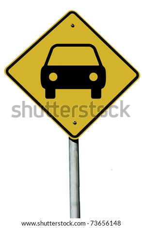 Car or Automobile sign isolated on a plain white background.