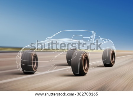 car outline and wheels rushes on road with high speed