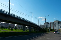 Car overpass in the city center. Overpass for traffic. Unloading city traffic, fighting traffic jams.