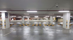 Car parking bar in the area in Shopping Center.Indoor parking