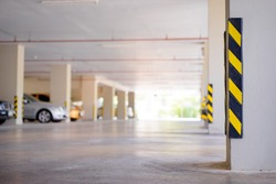 Car parking building hall with column.