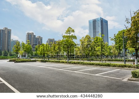 Stock Photo Car parking lot with white mark